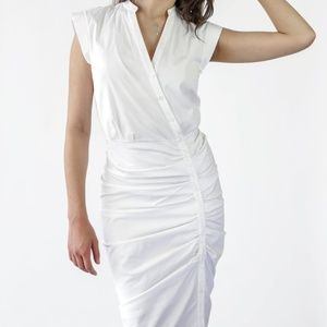 Veronica Beard White Cotton Ruched Dress